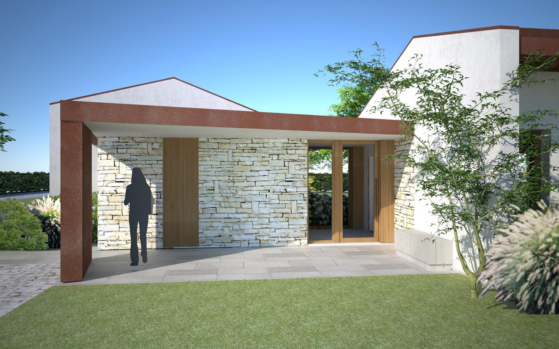 Villa con struttura in legno x lam spresiano globarch for Nuove case a un piano