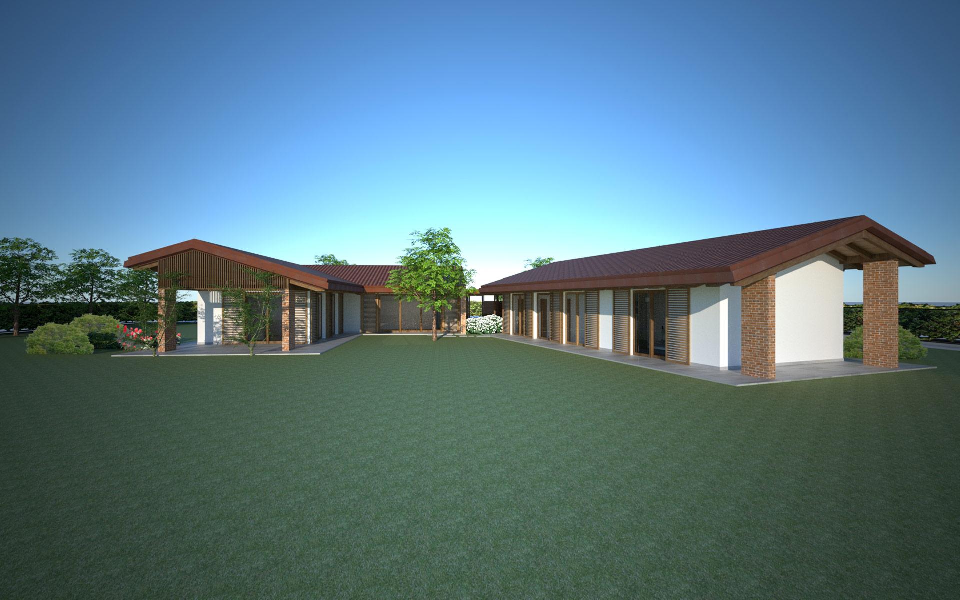 Villa con struttura in legno x lam spresiano globarch for Villa legno