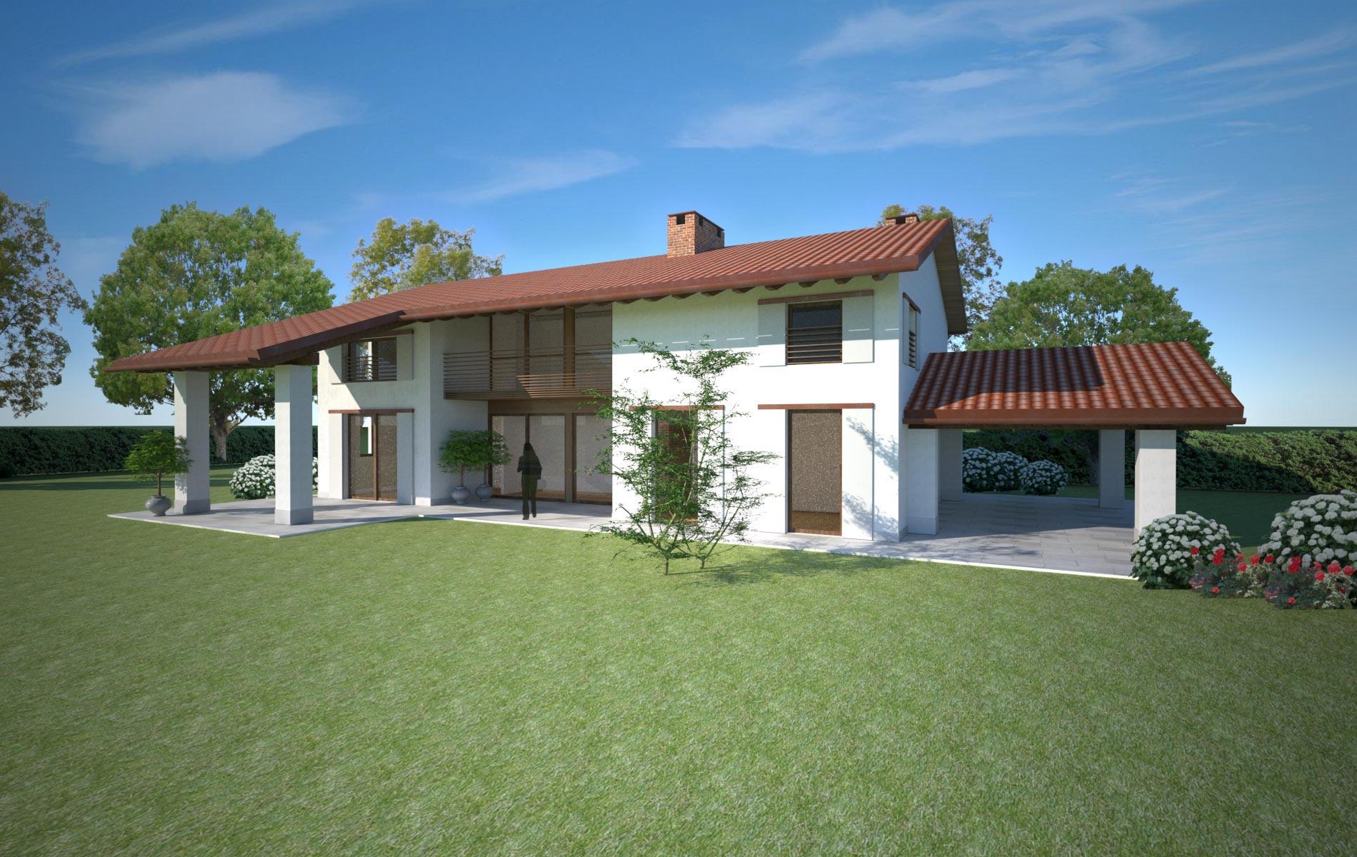 Villa con struttura in legno x lam treviso globarch for Villa legno