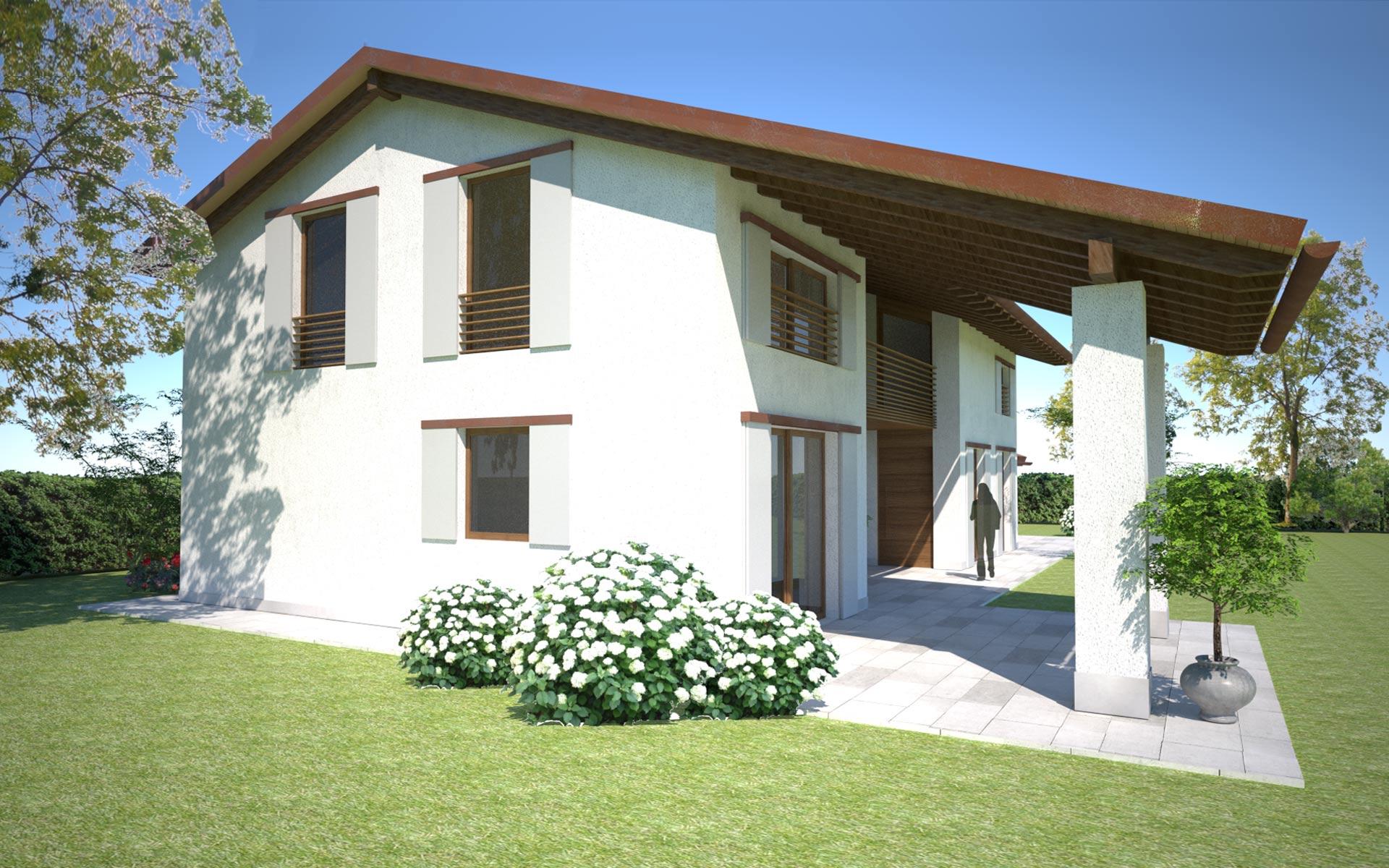 Villa con struttura in legno x lam treviso globarch for Casa in legno tradizionale